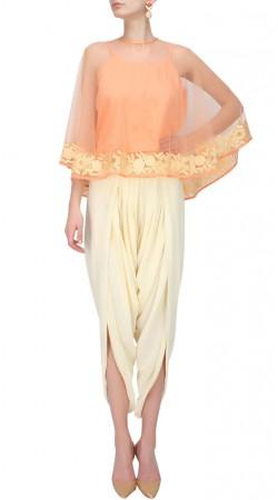 Peach Designer Dhoti Dress With Cape SUUDS50630