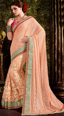 Peach Floral Work Saree With Lucknowi Palla MS440331