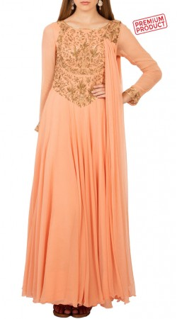 Peach Georgette Anarkali Suit With Attached Dupatta BP4934