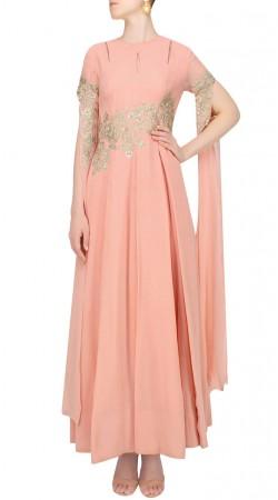 Peach Georgette Designer Extra Long Sleeves Kameez SUUDS42020