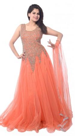 Peach Net Long Indowestern Gown LD4404