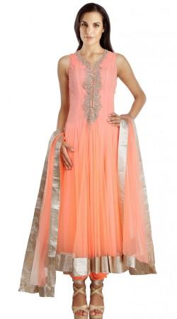 Peach Net Readymade Plus Size Salwar Kameez With Dupatta SU19410