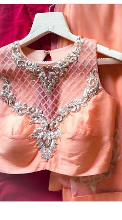 Peach Premium Fabric Silver Emboridered Designer Blouse For Saree BP2809