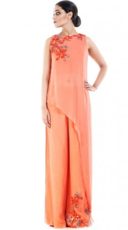 Peach Side Trail Kameez With Palazzo Pant SUUDS52530