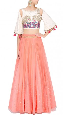 Peach Silk Designer Crop Top Lehenga SUUDL25725