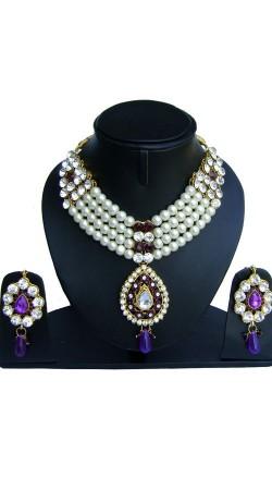 Pearl Moti White Purple Stone Work Designer Artificial Jewellery NNP75202