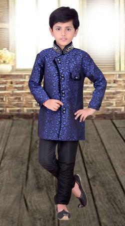 Perfect Blue Kids Boy Wedding Indo Western Sherwani DT510753