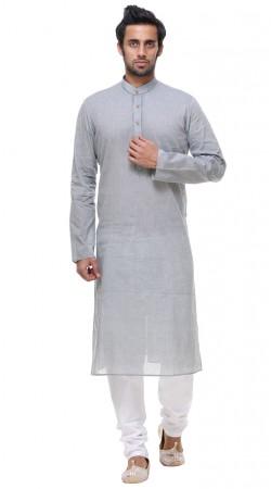 Perfect Cotton Thread Work Grey Kurta Pajama For Mens GR142106