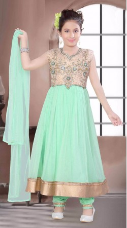 Perfect Golden Border Sea Green Kids Girl Long Anarkali Suit DT10548