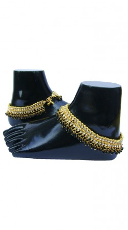 Perfect Hand Crafted Gold Plated And Black Moti Designer Anklet N72698