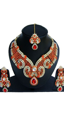 Perfect Red Stones Work Designer Necklace Set For Party NNP73802
