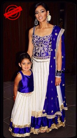 Perfect White And Blue Lehenga Choli For Lovely Mother And Cute Daughter BP3716