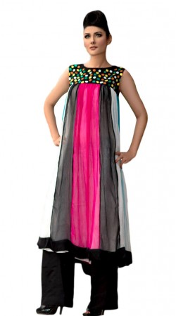 Pink And Black Chiffon Parallel Pant Suit SU9001