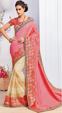 Pink And Cream Party Wear Saree With Matching Blouse MS961932
