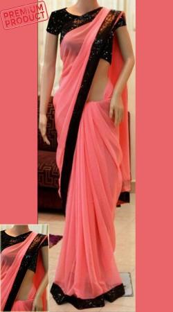 Pink Chiffon Bridesmaid Saree With Sequins Border BP0141