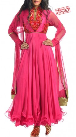 Pink Chiffon Designer Anarkali Suit With Churidar Sleeves BP3134