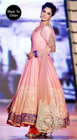 Pink Chiffon Isha Koppikar Bollywood Star Replica Anarkali Suit SMDS00H