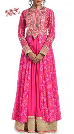 Pink Crepe Silk Designer Long Choli Lehenga BP4334