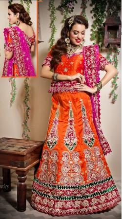Pink Dupatta Orange Silk Semi Bridal Lehenga Choli LD001605