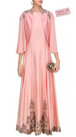 Pink Floor Length Anarkali Suit With Short Jacket SUMS28921