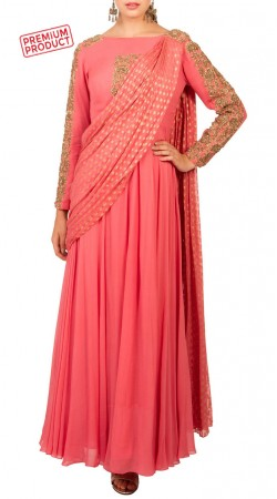 Pink Georgette Anarkali Suit With Attached Dupatta BP3634