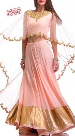 Pink Georgette And Net Designer Long Cape Lehenga BP0134