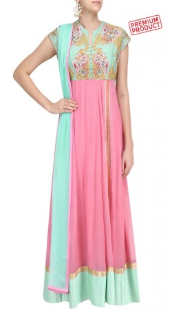 Pink Georgette Embroidery Work Anarkali Suit SUMS28121