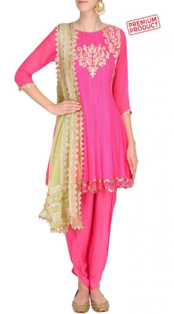 Pink Georgette Short Anarkali With Dhoti Pant SUMS29021