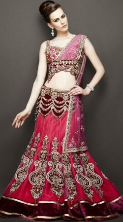 Pink Heavy Work Modern Bridal Lehenga Choli SM0804