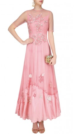 Pink Net Designer Gown Style Suit With Floral Work SUUDS42920