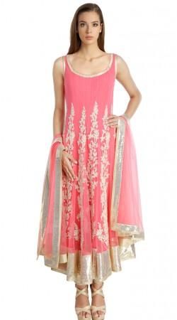 Pink Net Floral Embroidered Readymade Ready Made Salwar Kameez SU19210