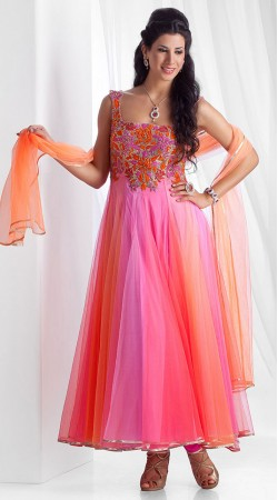 Pink Net Gown Style Anarkali Suit SU10001