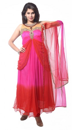Pink Net Gown Style Suit
