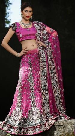 Pink Net Lehenga Choli LD001603
