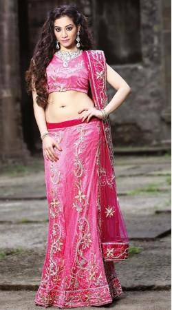 Pink Net Lehenga Choli LD005503