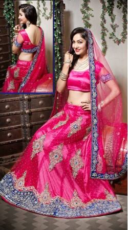Pink Net Wedding Lehenga Choli With Blue Border Dupatta LD002605