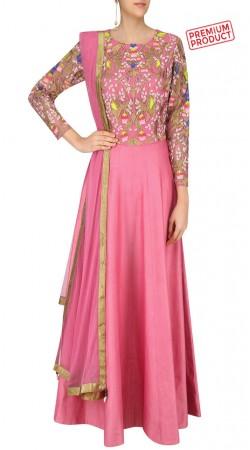 Pink Silk Anarkali Salwar Kameez With Embroidery Work SUMS28021
