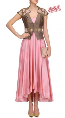 Pink Silk Designer Asymmetrical Kameez With Stylish Short Koti SUMS30721