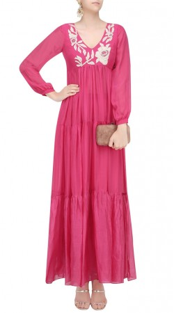 Pink Silk Designer Salwar Kameez With Long Sleeves SUUDS40620