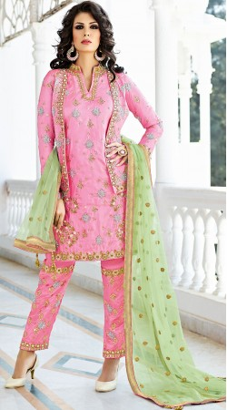 Pink Silk Jacket Style Kameez With Parallel Pant BP900331
