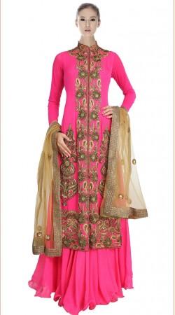 Pinkish Magenta Georgette Indowestern Dress SU8501