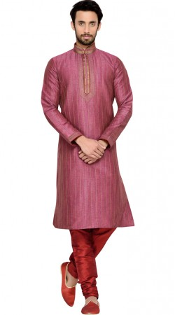 Pinkish Purple Art Silk Thread Work Kurta Pajama GR145009