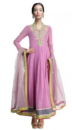 Pinkish Purple Chanderi Silk Ankle Length Anarkali Suit SUUDS18702