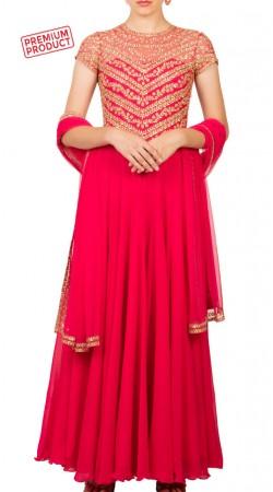 Pinkish Red Georgette Designer Anarkali Suit BP3534