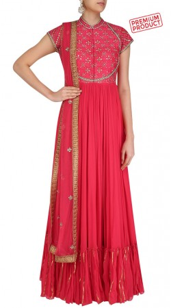 Pinkish Red Georgette Plus Size Anarkali Salwar Kameez SUMS33021