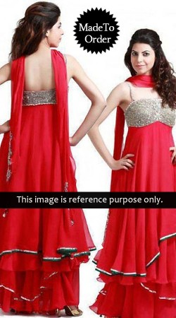 Pinkish Red Net Replica Lehenga Cum Anakali 040