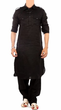 Plain Black Cotton Men Pathani Suit BP0838