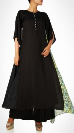 Plain Black Cotton Palazzo Anarkali Suit BP0747