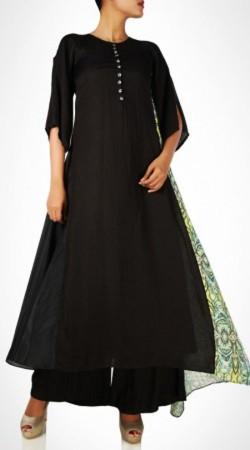 Plain Black Cotton Palazzo Anarkali Suit BP0747