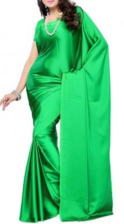 Plain Green Satin Saree For Bridesmaid BP0240